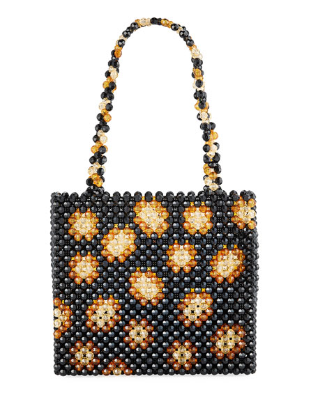 Image 1 of 1: Leopard Acrylic Beaded Tote Bag