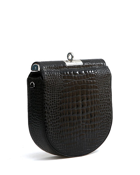 Small Demilune Stamped Crocodile Shoulder Bag
