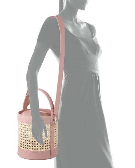 Fey Rattan & Leather Bucket Bag