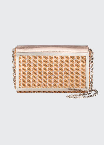 Woven Metallic Leather Clutch Bag
