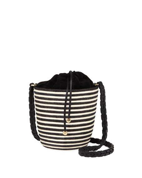 Image 1 of 1: Striped Woven Lunchpail Crossbody Bucket Bag