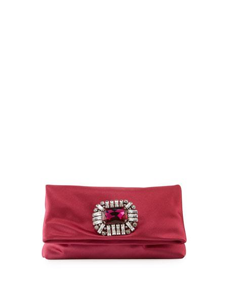 Titania Jeweled Satin Clutch Bag, Pink