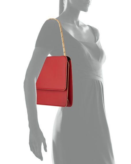Cache Chain-Strap Leather Shoulder Bag