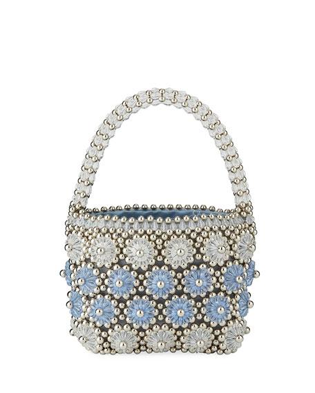 Beaded Shelly Top Handle Bag