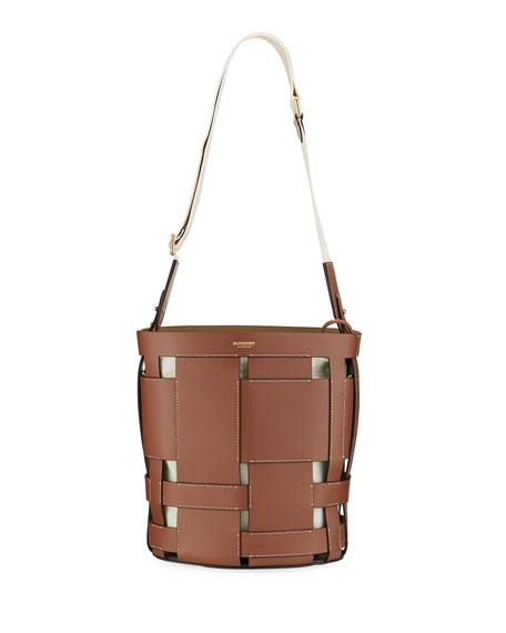 Foster Woven Smooth Bucket Bag by Burberry