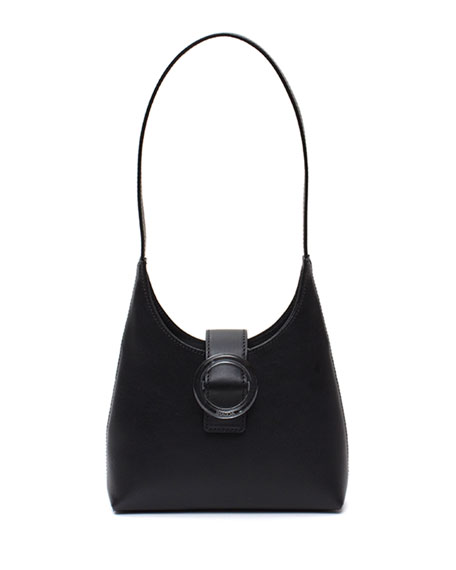 Image 1 of 1: Leather Lucite-Buckle Mini Shoulder Bag