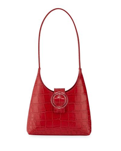 Stamped Crocodile Shoulder Bag