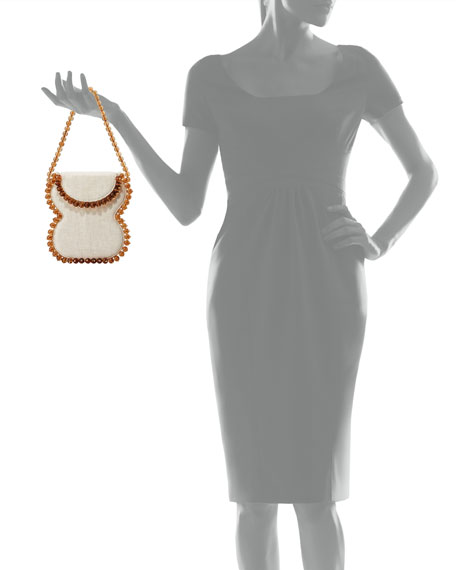 Frida Beaded Linen Top-Handle Bag