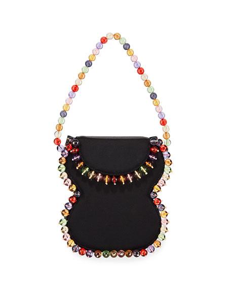Frida Beaded Grosgrain Top-Handle Bag