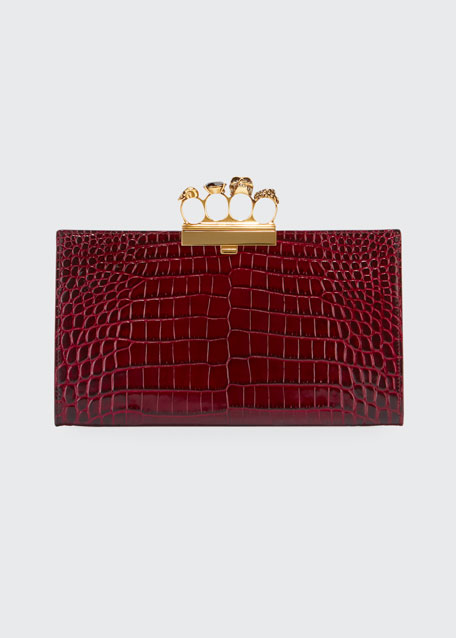 Four-Ring Stamped Crocodile Clutch Bag