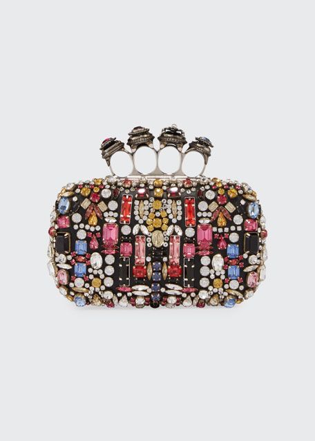 Jeweled Four-Ring Embellished Leather Clutch Bag