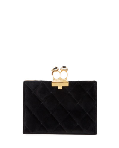 Two-Ring Quilted Velvet Clutch Bag