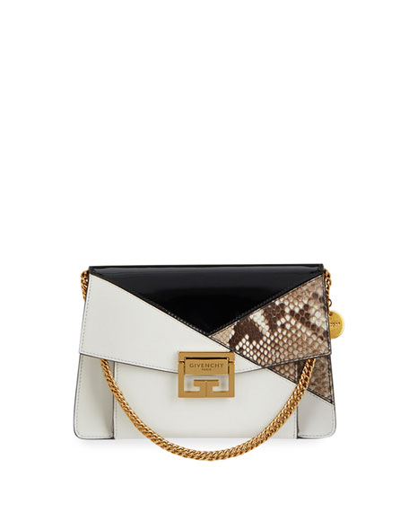 Image 1 of 1: GV3 Small Leather and Snakeskin Patchwork Crossbody Bag