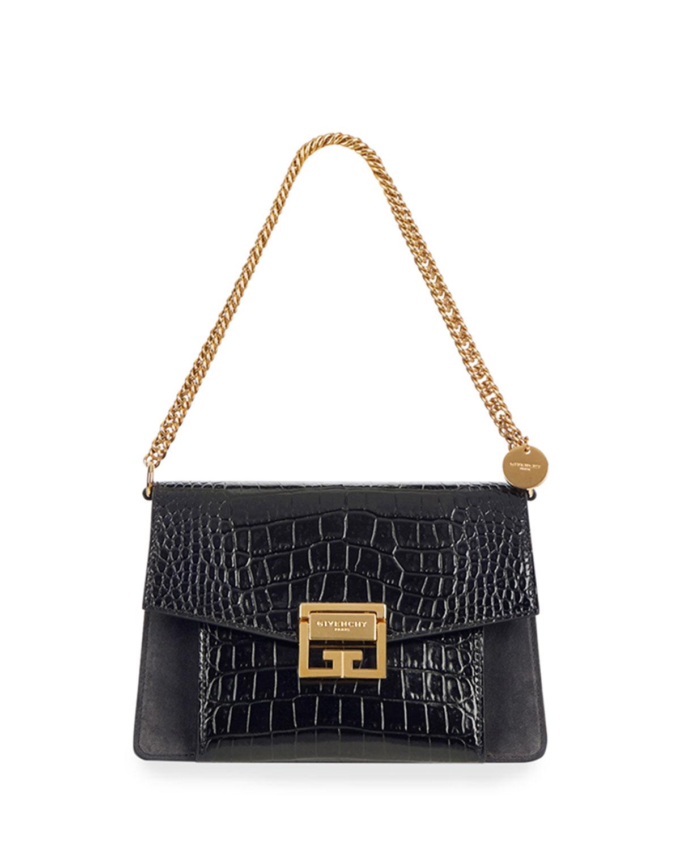 Gv3 Small Croc Embossed Leather Shoulder Bag