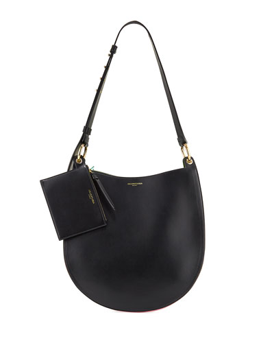 Cubo Plisse Leather Bucket Bag