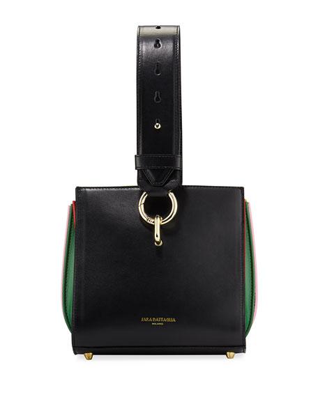 Round Plisse Leather Hobo Bag