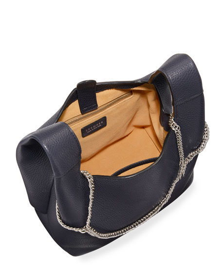 Pebbled Leather Chain Bag, Navy