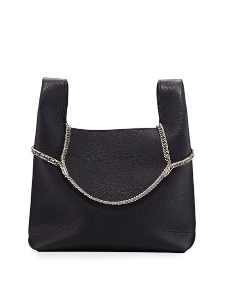 Image 1 of 1: Pebbled Leather Chain Bag, Navy