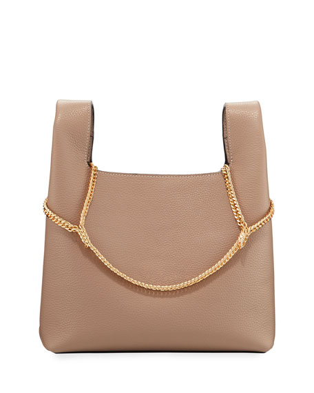 Image 1 of 1: Pebbled Leather Chain Bag, Beige