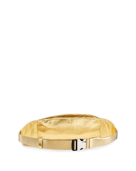 Foiled Leather Belt Bag, Gold