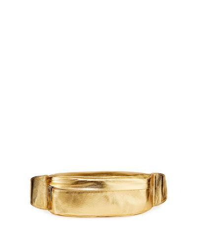 Foiled Leather Belt Bag  Gold