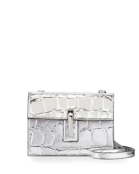 Mini Soft Embossed Faux-Leather Clutch Bag