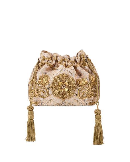 English Rose Embroidered Brocade Shoulder Bag