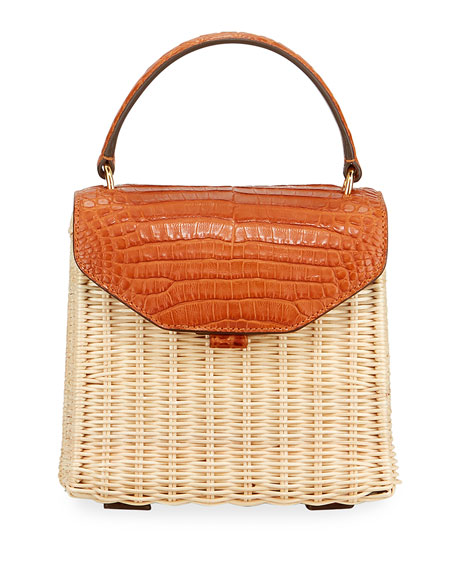 Lily Mini Crocodile & Wicker Top-Handle Bag
