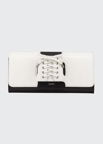Glove Two-Tone Laced Clutch Bag