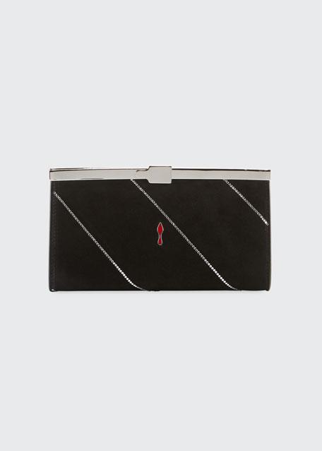 Palmette Small Suede Clutch Bag