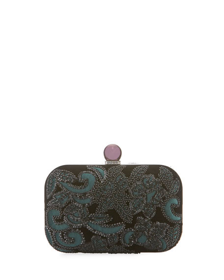 Floral-Beaded Velvet Clutch Bag
