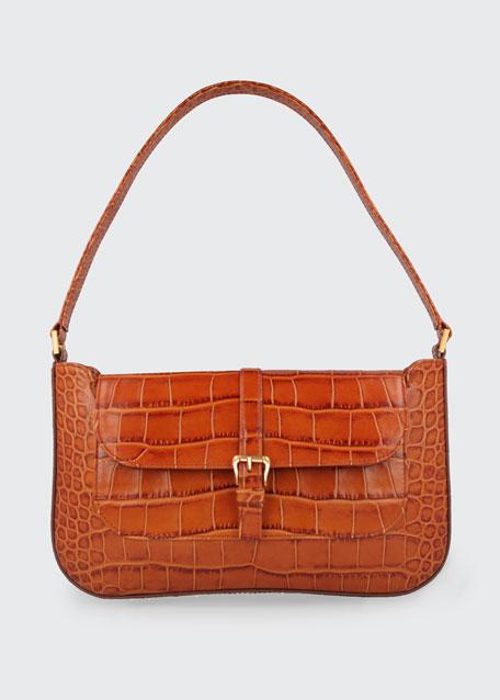 Miranda Croc-Embossed Shoulder Bag