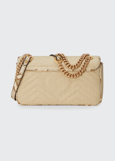 GG Marmont Raffia Shoulder Bag