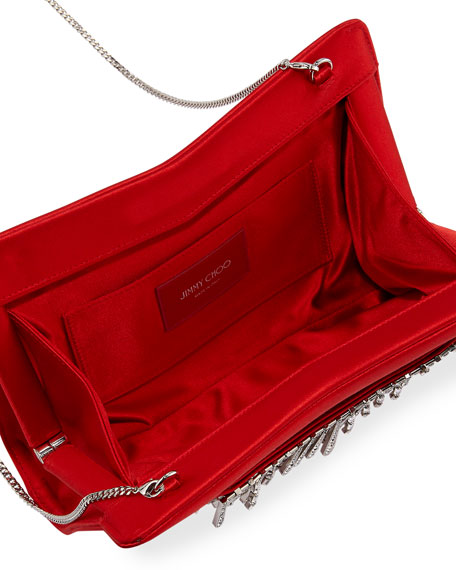 Tiara Satin Crystals Clutch Bag, Red