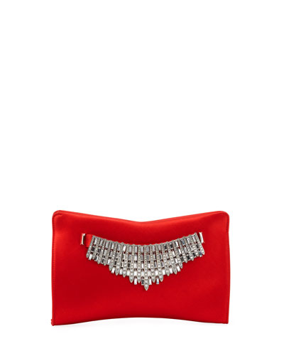 Tiara Satin Crystals Clutch Bag  Red