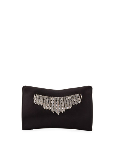 Tiara Satin Crystals Clutch Bag  Black
