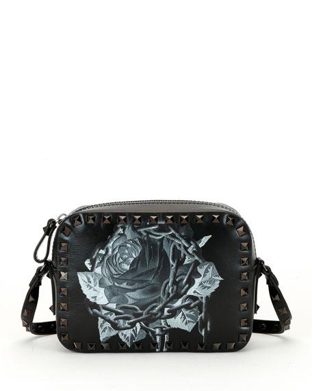 Rockstud Undercover Print Leather Crossbody Camera Bag