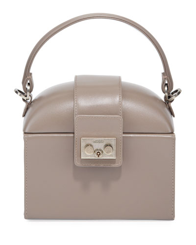 Leather Lunchbox Top Handle Bag