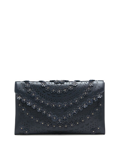 Oum Snakeskin and Leather Clutch Bag