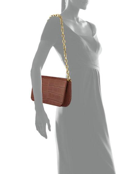 Sofia Croc-Embossed Leather Shoulder Bag