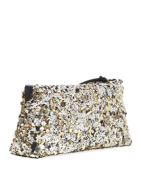 Sequin Zip-Top Clutch Bag