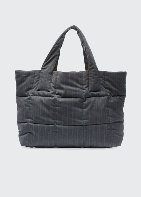 Large Pinstripe Quilted Tote Bag