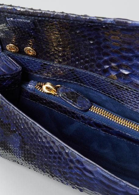 Gotham Metallic Python Flap Clutch Bag