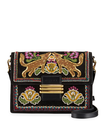 Forrest Embroidered Suede Rainbow Shoulder Bag