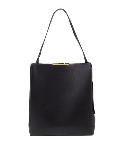 Leather Large Box Hobo Bag
