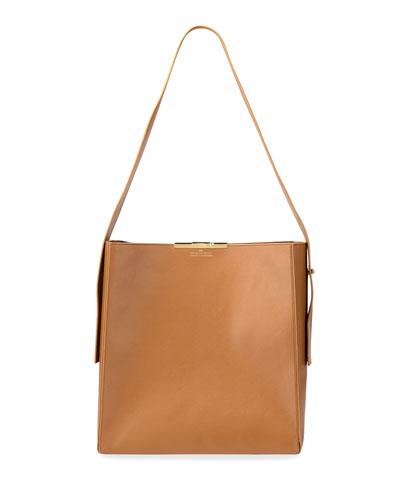 Large Leather Box Hobo Bag
