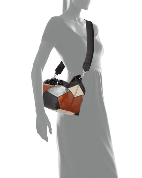 Patchwork Leather Small Satchel Bag
