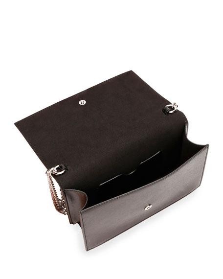 Small Micro-Studded Flap Crossbody Bag with Skull