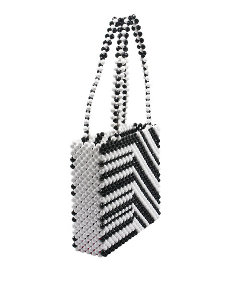Zebra Beaded Acrylic Tote Bag