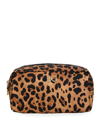 Leopard Nylon Cosmetics Pouch Bag